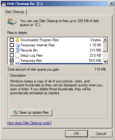 Disk cleanup is windows 7 own tool to clean junk files