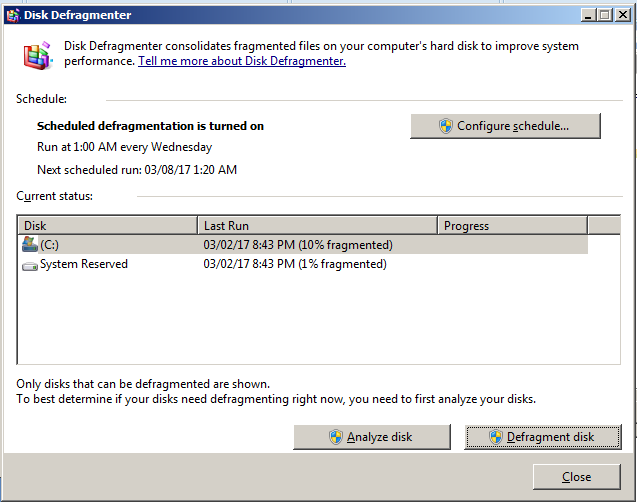 Disk defragmenter comes with windows 7