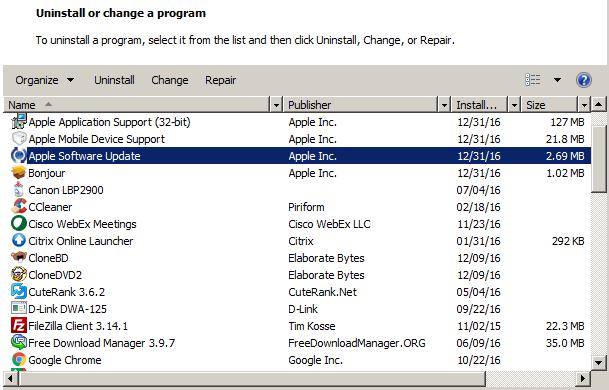 Uninstall useless programs from windows 7