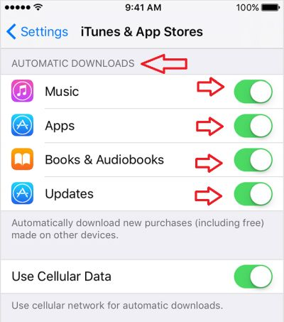 Automatic update option in iPhone settings