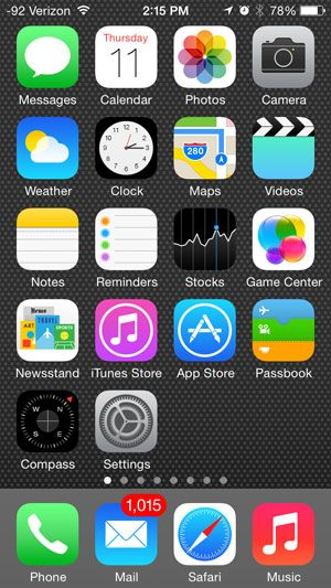 Iphone home page screen