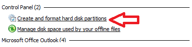 create and format disk partitions option on start menu