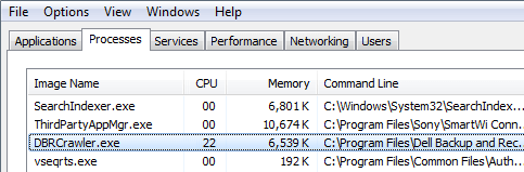 Dbrcrawler.exe application process showing in Task Manager