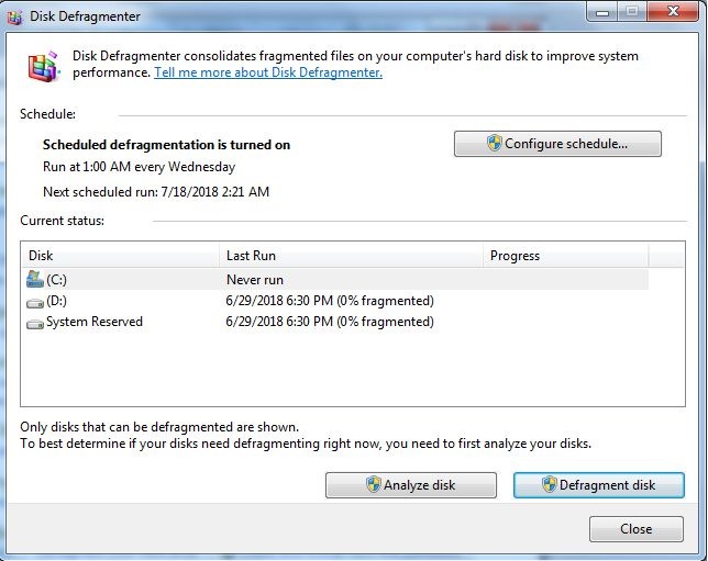 дефрагментатор диска в windows