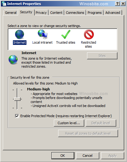 Internet option in windows