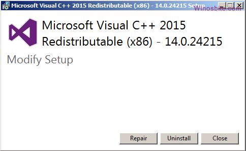 Вариант восстановления Microsoft Visual C ++
