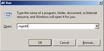 """Откройте Regedit, используя командную кнопку """"Выполнить"""""""