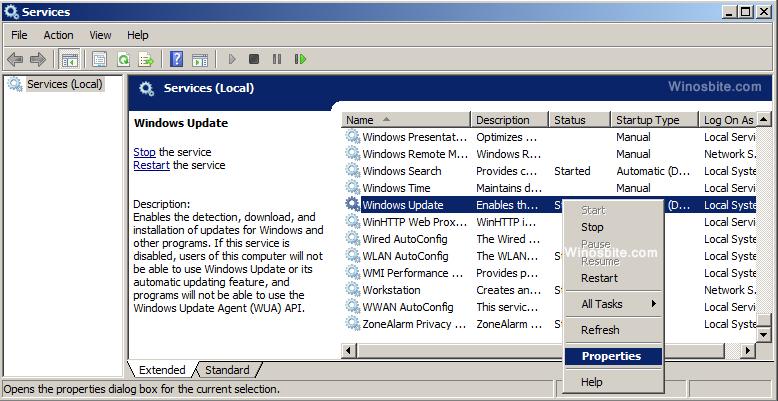 Настройки служб в обновлении Windows