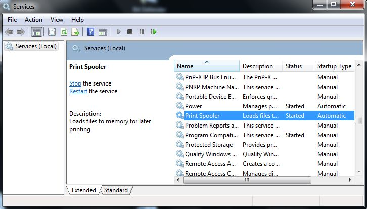 cmd command for restarting print spooler