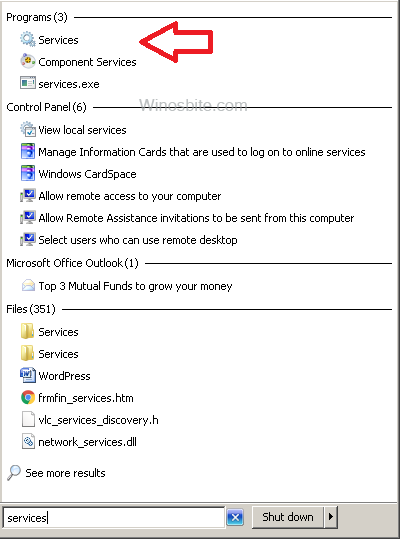Services option in windows OS