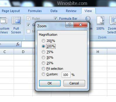 Shortcut to zoom excel