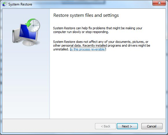 System restore option in windows