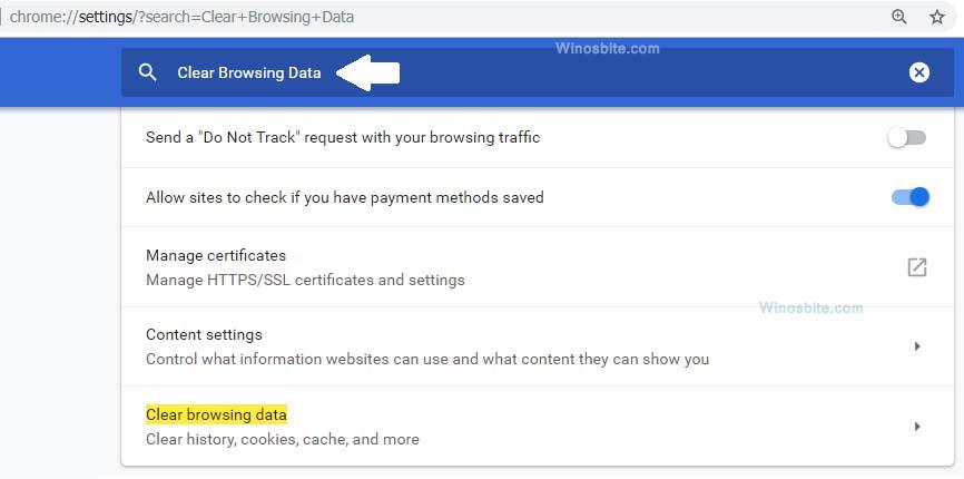 Очистить данные просмотра из Chrome