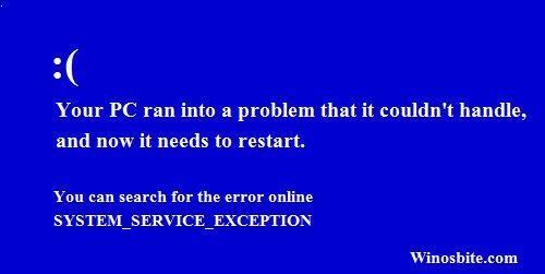 SYSTEM_SERVICE_EXCEPTION Ошибка синего экрана в ОС Windows