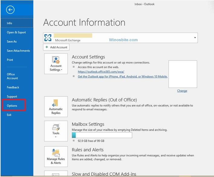 Параметры Outlook Express для Windows 10