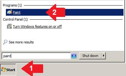 Запустите Paint с помощью кнопки запуска Windows