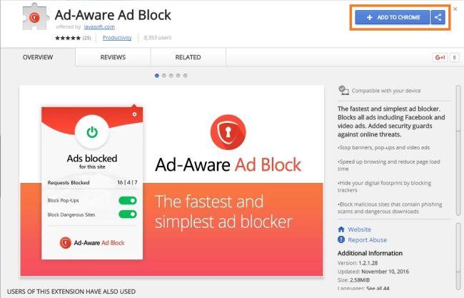 Рекламное расширение adblock для браузера