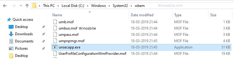 Расположение размера файла процесса unsecapp.exe