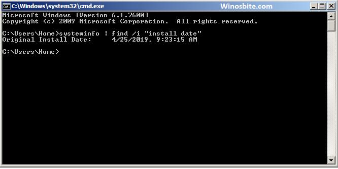 Командная строка для проверки даты установки Windows