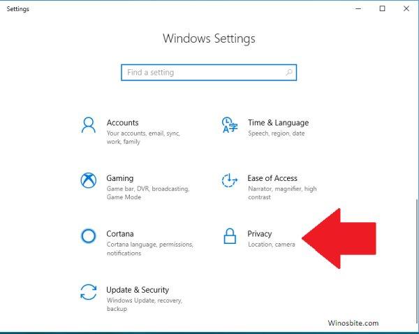 Конфиденциальность настроек Windows