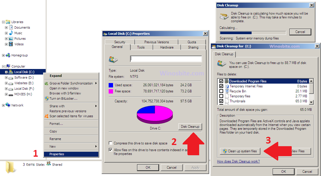 Disk Cleanup using Run Command and 3 Ways for Windows 10, XP