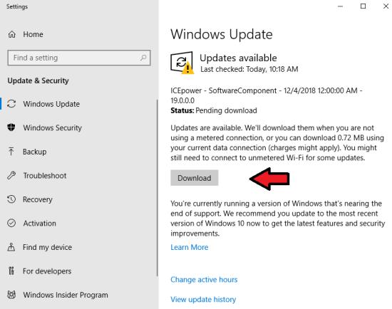 Скачать обновление Windows10