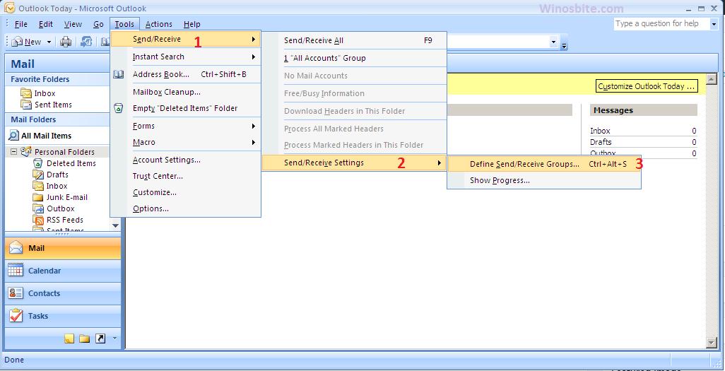 Инструменты Outlook Express> Отправить получить» width=»1026″ height=»525″ srcset=»https://www.winosbite.com/wp-content/uploads/2019/08/outlook-tools-send-receive.png 1026w, https://www.winosbite.com/wp-content/uploads/2019/08/outlook-tools-send-receive-768×393.png 768w» sizes=»(max-width: 1026px) 100vw, 1026px»/></noscript></noscript></p> <p>4]Диалоговое окно с названием <strong>Группы отправки / получения </strong>открывается.  Здесь снимите флажок с переключателя <strong>Запланируйте автоматическую отправку / получение каждые </strong>и нажмите на <strong>Закрывать</strong>.</p> <p><img data-lazyloaded=