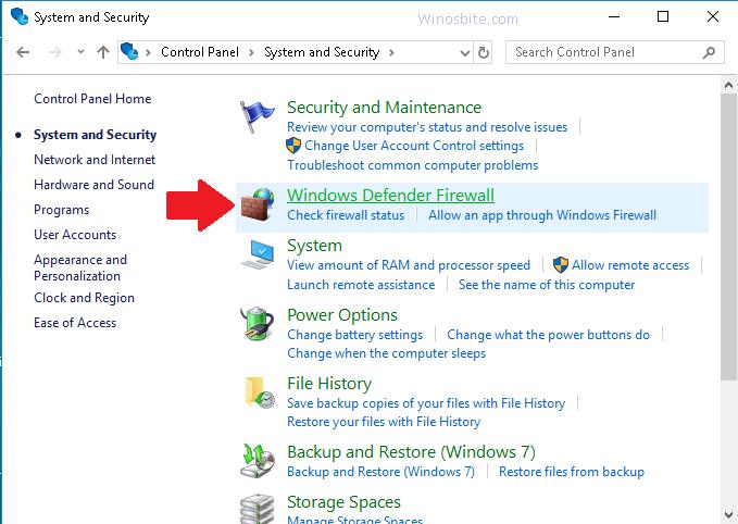 Параметры системы и безопасности в Windows 10