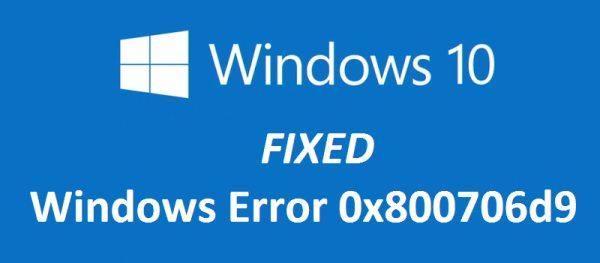 Исправлена ошибка Центра обновления Windows 0x800706d9.