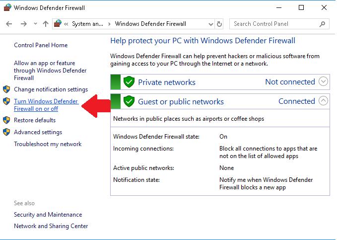 Параметр брандмауэра Защитника Windows