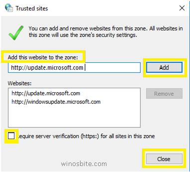 Кнопка добавления и закрытия Windows10