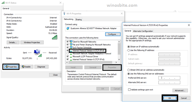 Альтернативный DNS-сервер Windows10
