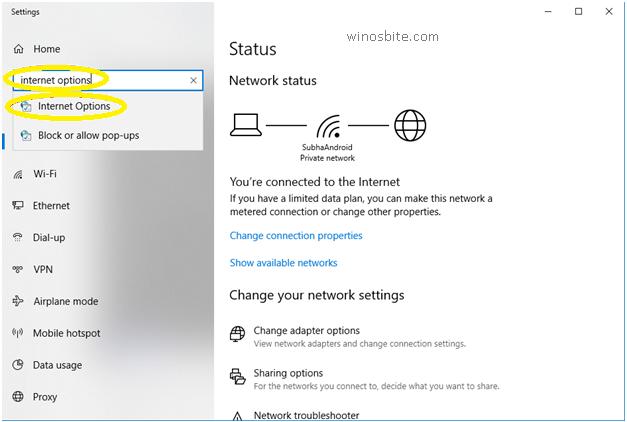 Свойства обозревателя Windows10
