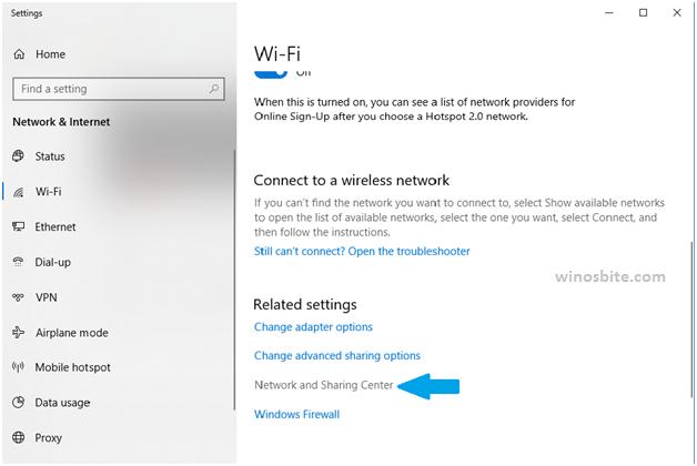 Центр управления сетями и общим доступом Windows10