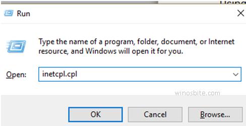 Windows10 запустите команду Inetcpl.cpl