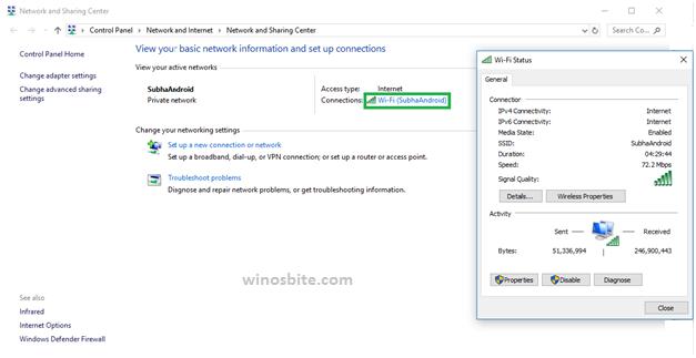 Статус Wi-Fi под названием Windows10
