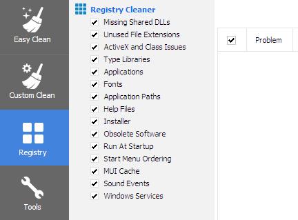Функция реестра CCleaner