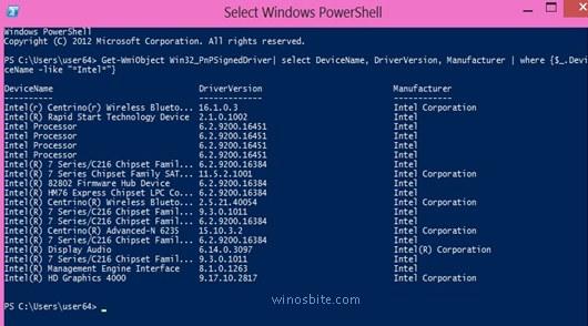 Нажмите Enter после команды определенных драйверов устройств в Windows Power Shell.