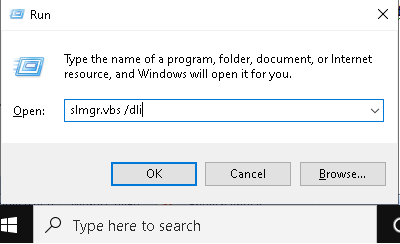 Запустите Toolbox типа slmgr.vbs / dli