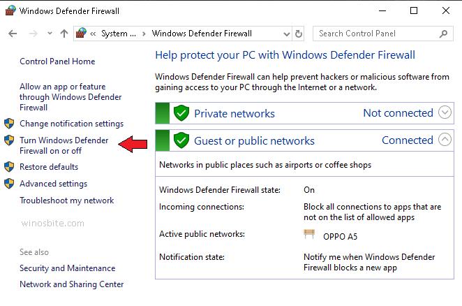 Включение или отключение брандмауэра Защитника Windows