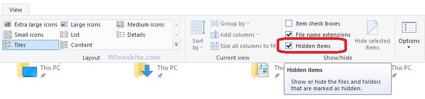 Снимите отметку со скрытых файлов в Windows 10
