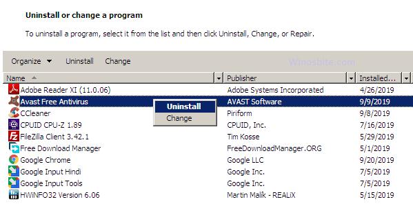 Удалите Avast Antivirus.