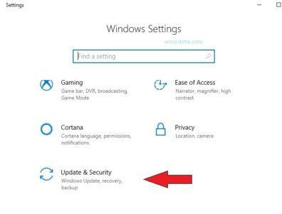 Опция обновления и безопасности в Windows 10