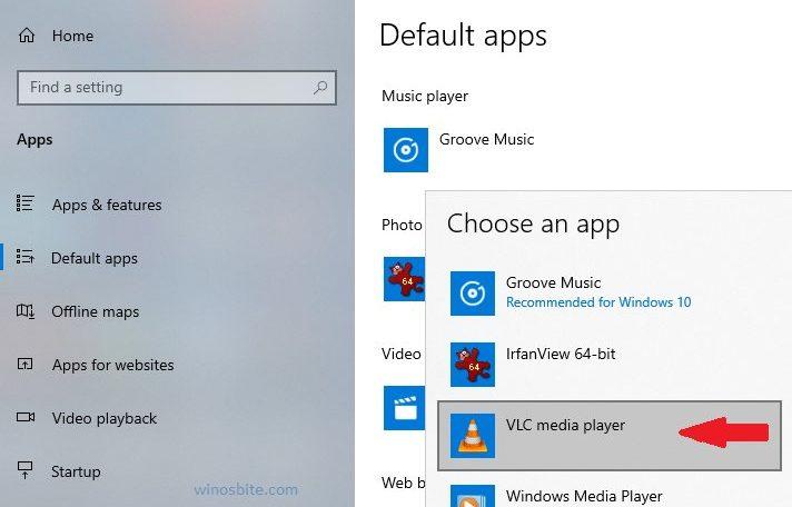 Установите VLC Media player по умолчанию в ОС Windows 10