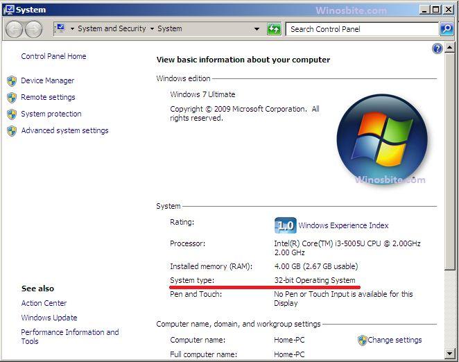 Тип системы Windows 7 с 32-битной версией