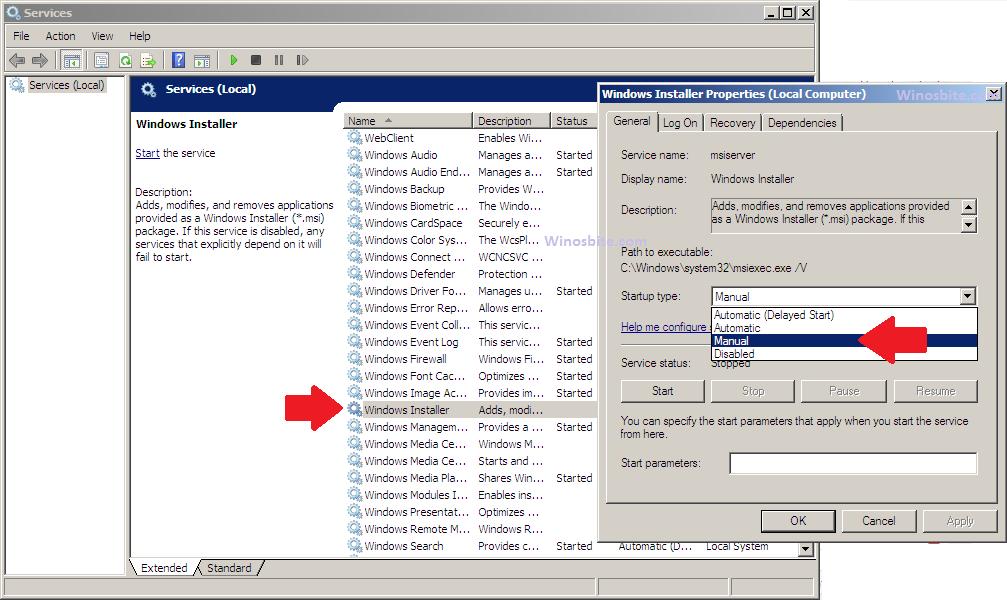 Запуск / остановка службы установщика Windows
