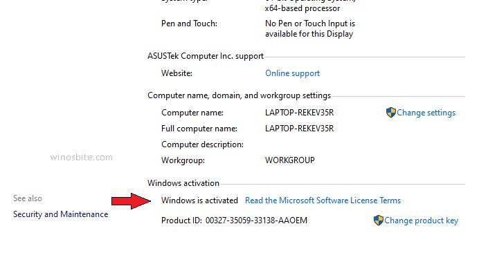 Сообщение об активации Windows
