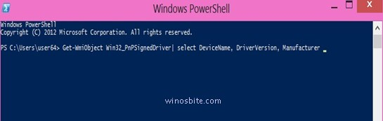 Список команд Windows Power Shell Имена устройств, их производитель и версия драйвера