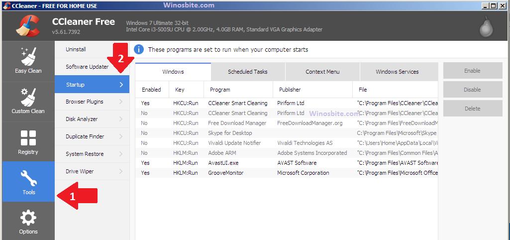 Инструмент CCleaner для включения или отключения программы запуска