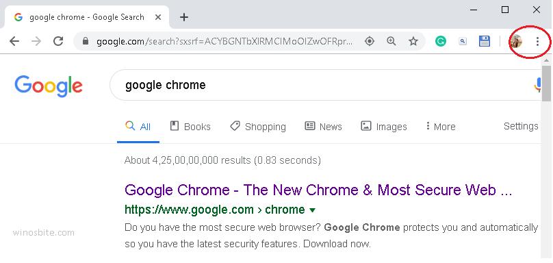 Кнопка меню Chrome